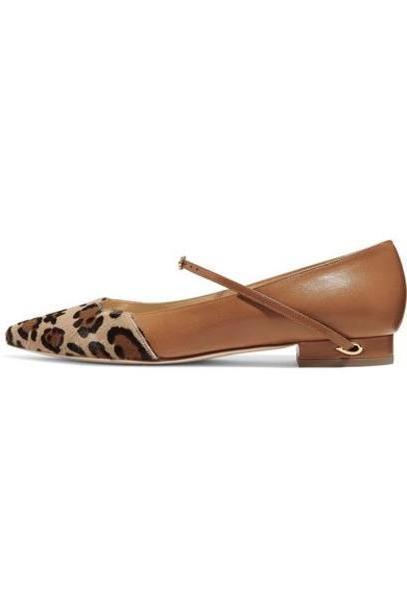 Jennifer Chamandi - Lorenzo Leopard-print Calf Hair And Leather Point-toe Flats - Leopard print cover image