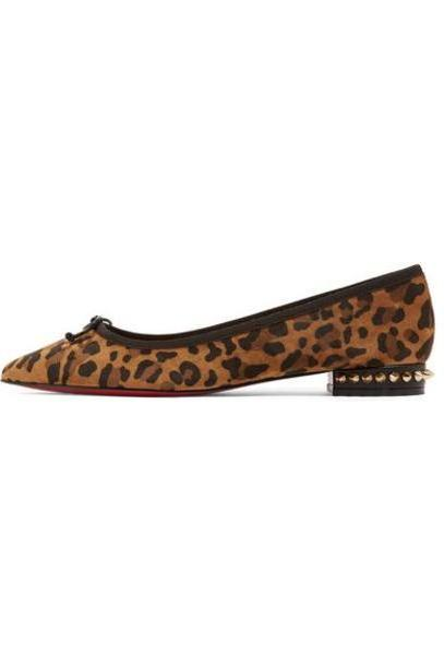 Christian Louboutin - Hall Spiked Leopard-print Suede Point-toe Flats - Leopard print cover image