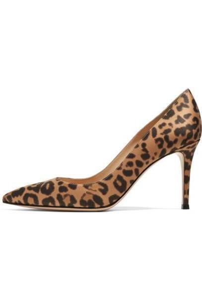 Gianvito Rossi - 85 Leopard-print Satin Pumps - Leopard print cover image
