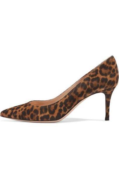 Gianvito Rossi - 70 Leopard-print Suede Pumps - Leopard print cover image