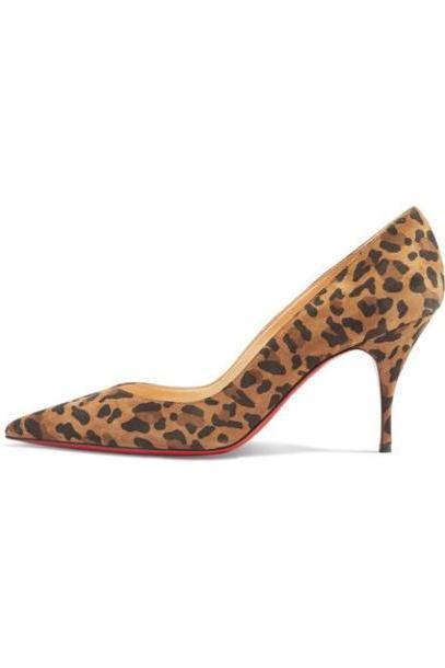 Christian Louboutin - Clare 80 Leopard-print Suede Pumps - Leopard print cover image