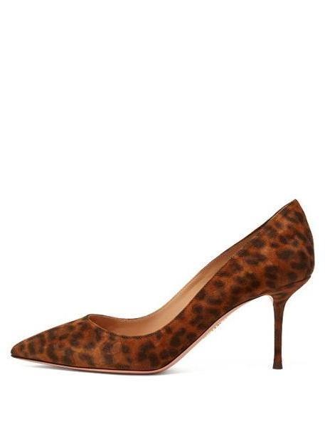 Aquazzura - Purist 75 Leopard Print Suede Pumps - Womens - Leopard cover image