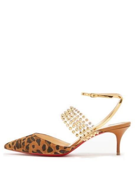 Christian Louboutin - Levita 55 Studded Leopard Print Suede Pumps - Womens - Leopard cover image