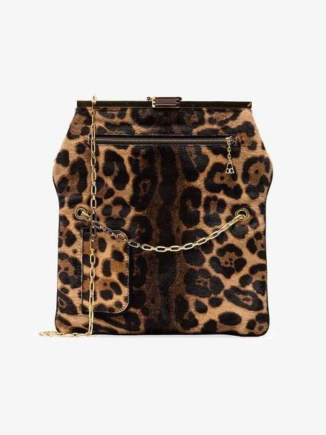 Bienen Davis brown PM leopard print ponyskin clutch bag cover image