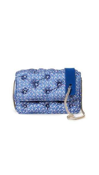 Benedetta Bruzziches Carmen Quilted Shoulder Bag in blue / leopard cover image