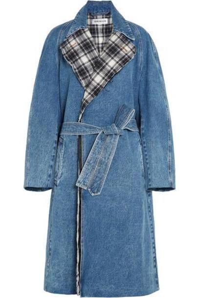 Balenciaga - Belted Denim And Quilted Checked Flannel Coat - Mid denim cover image