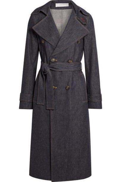 Victoria Beckham - Belted Denim Trench Coat - Dark denim cover image