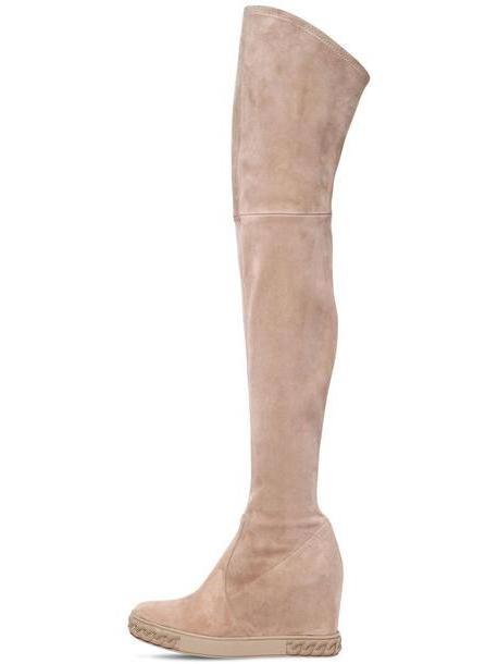 CASADEI 80mm Stretch Suede Over The Knee Wedges in beige / beige cover image