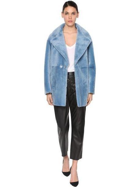 BLANCHA Reversible Leather & Fur Coat in denim / denim cover image