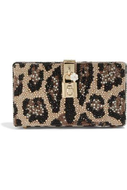Dolce & Gabbana - Dolce Box Crystal-embellished Acrylic Clutch - Leopard print cover image