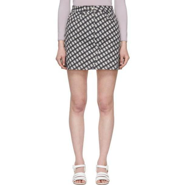 Alexachung Black & White Denim Check Miniskirt cover image