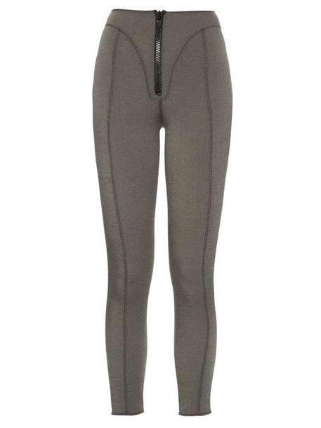 Lisa Marie Fernandez - Yoke Zip Front High Waisted Leggings - Womens - Denim cover image