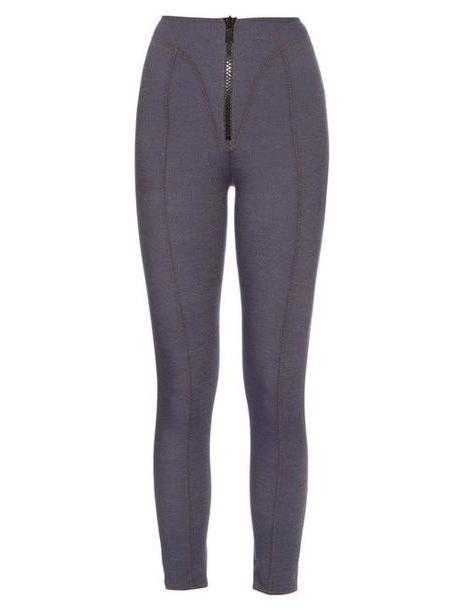 Lisa Marie Fernandez - Yoke Zip Front High Waisted Leggings - Womens - Dark Denim cover image