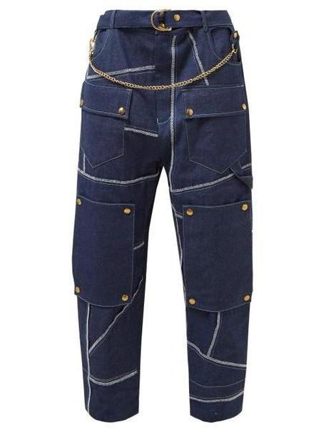 Symonds Pearmain - Belted High Rise Denim Utility Trousers - Womens - Denim cover image