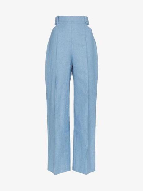 Michael Lo Sordo Wide leg cutout detail denim trousers cover image