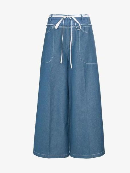 Rejina Pyo high-waisted tie waist denim culottes cover image