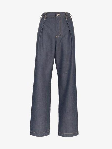 Wright Le Chapelain tailored wide leg denim trousers cover image