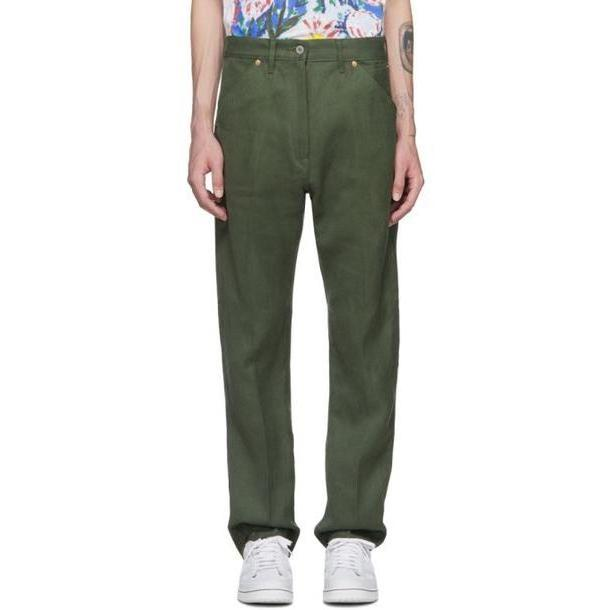 Junya Watanabe Khaki Linen Denim Trousers cover image