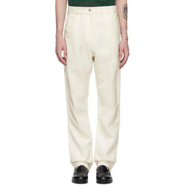 Junya Watanabe Off-White Linen Denim Trousers cover image