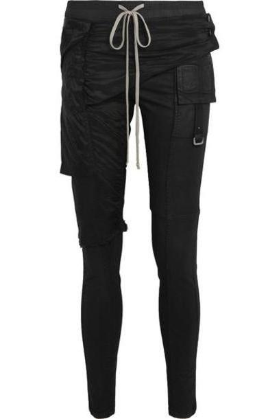 Rick Owens - Memphis Shell-paneled Coated Stretch-denim Leggings - Black cover image