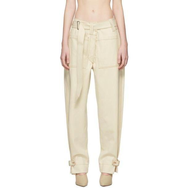 Mugler White Raw Denim Trousers cover image