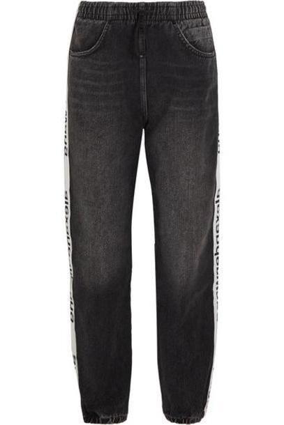 Alexander Wang - Grosgrain-trimmed Denim Tapered Track Pants - Dark gray cover image