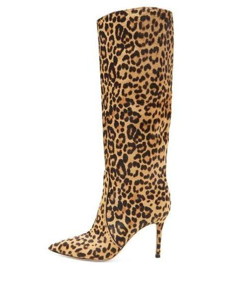 Gianvito Rossi - Hunter 85 Leopard Print Knee High Boots - Womens - Leopard cover image