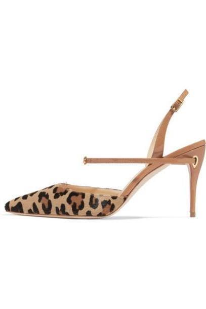 Jennifer Chamandi - Vittorio Leopard-print Calf Hair And Patent-leather Slingback Pumps - Leopard print cover image