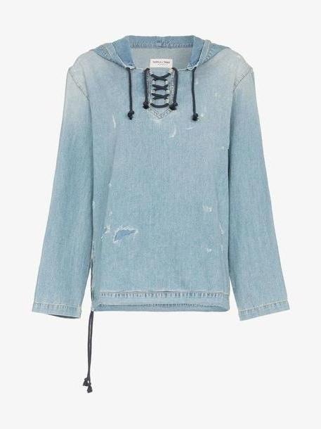 Saint Laurent distressed denim hoodie cover image