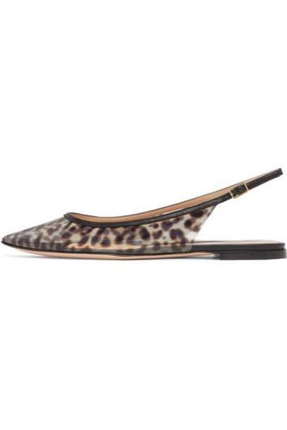 Gianvito Rossi - Patent Leather-trimmed Leopard-print Pvc Slingback Point-toe Flats - Leopard print cover image