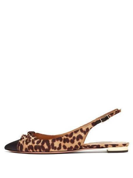 Aquazzura - Mondaine Knotted Leopard Print Flats - Womens - Leopard cover image