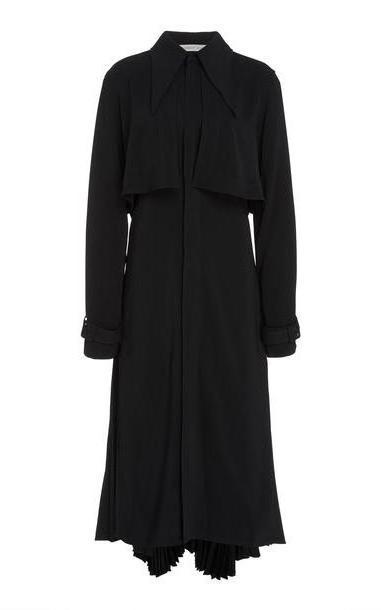 Silvia Tcherassi Pleated Gerarda Gabardine Trench Coat in black cover image