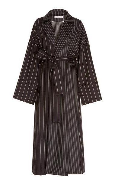 Oscar de la Renta Oversized Striped Midi Coat in navy cover image