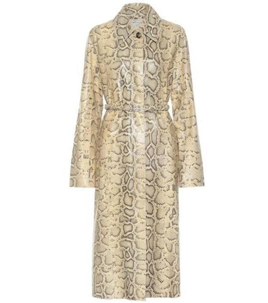 Bottega Veneta Snake-effect leather coat in beige cover image