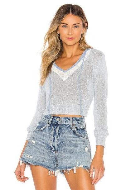 superdown Suzie Light Knit Hoodie in blue cover image