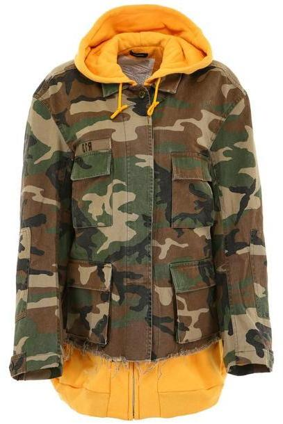 R13 Camouflage Jacket With Hoodie in yellow cover image