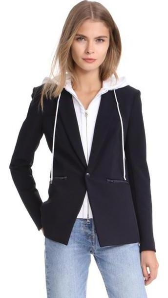 Veronica Beard Scuba Jacket with White Hoodie Dickey cover image