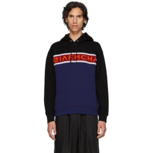 Givenchy Black & Blue Upside Down Logo Hoodie cover image
