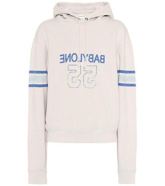 Saint Laurent Printed cotton hoodie in grey cover image