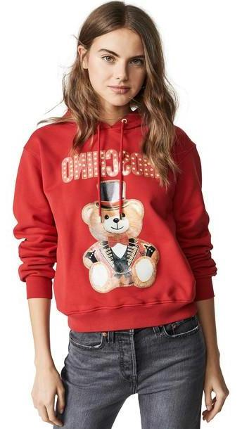 Moschino Tophat Bear Hoodie in red cover image