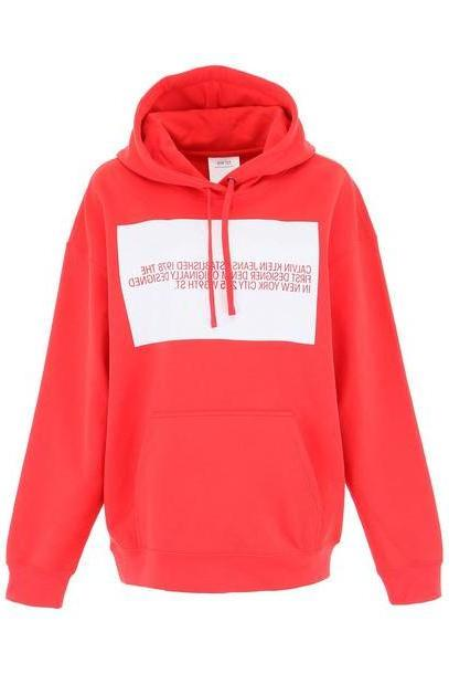 Calvin Klein Logo Hoodie in red / white cover image