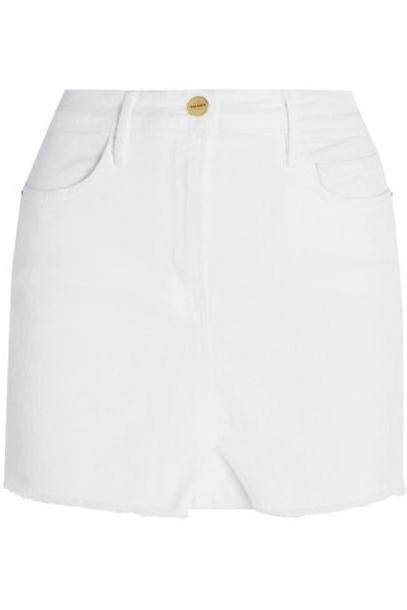 FRAME - Le Mini Distressed Denim Skirt - White cover image