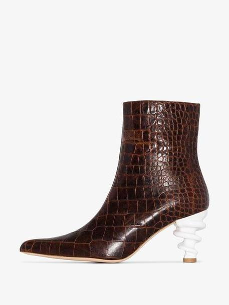 Kalda brown Island 70 Twisted Heel Snake-Effect Leather Boots cover image