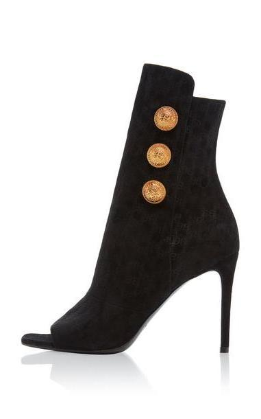 Balmain Oslo Monogrammed Suede Boots in black cover image