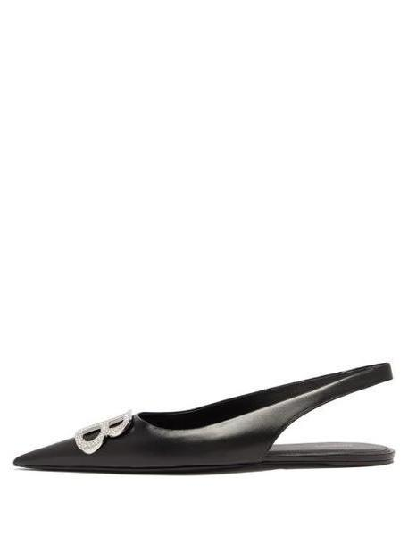 Balenciaga - Bb Knife Slingback Crystal & Leather Flats - Womens - Black cover image