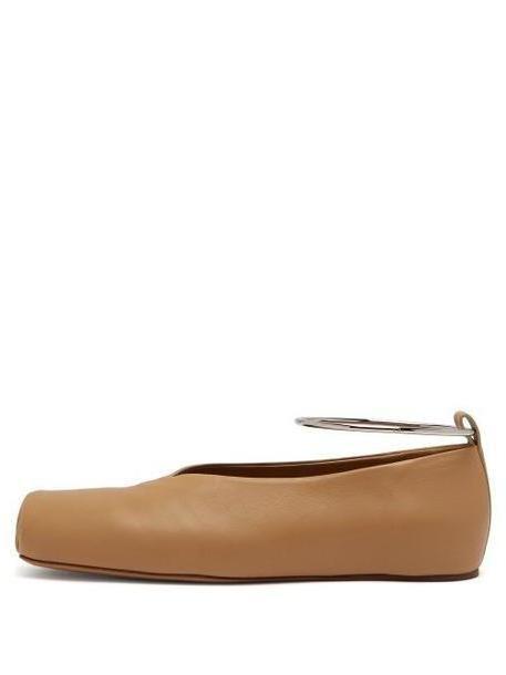 Jil Sander - Ankle Bracelet Leather Ballet Flats - Womens - Beige cover image