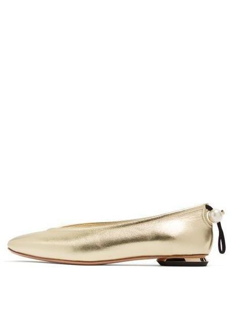 Nicholas Kirkwood - Delfi Pearl Toggle Leather Ballet Flats - Womens - Light Gold cover image