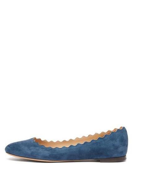 Chloé Chloé - Lauren Scallop Edge Leather Ballet Flats - Womens - Dark Blue cover image