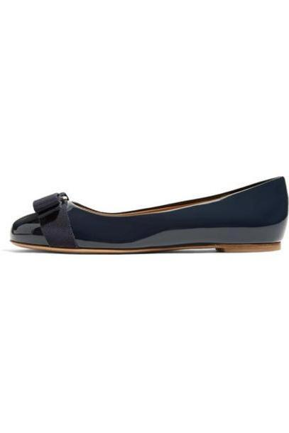 Salvatore Ferragamo - Varina Bow-embellished Patent-leather Ballet Flats - Midnight blue cover image