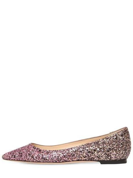 JIMMY CHOO 10mm Romy Dégradé Glitter Leather Flats in sand / pink cover image